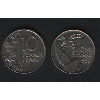 Финляндия km65 10 пенни 1992 год (M) (f35)