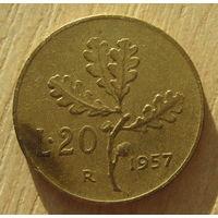 Италия 20 лир 1957 год