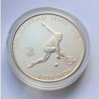 """Южная Корея, 1000 вон 1987 год, """"Олимпийские игры в Сеуле - Тенис""""."""