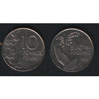 Финляндия km65 10 пенни 1991 год (M) (h01)