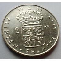 """Швеция 2 кроны 1959 """"Король Густав VI Адольф"""" (знак """"TS"""", серебро)"""
