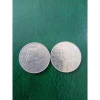 Австрия 10 шиллингов 2 шт 1974,1993г