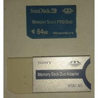 Карта памяти Sony Memory Stick PRO Duo 64 MB + MS adapter