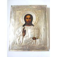 Икона Господь Вседержитель. Оклад серебро 84. Клеймо 84.19 век. Клеймо мастера.