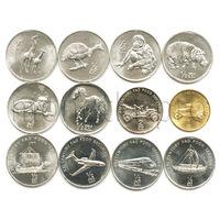 Северная Корея 12 монет 2002 года. Животные, техника (без паровоза)