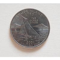 25 центов США 2001 г. штат Род-Айленд D