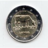 2 евро Латвия 2016 год Корова