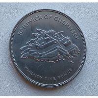 Гернси 25 пенсов, 1977 25 лет правления Королевы Елизаветы II 7-9-4