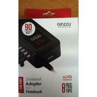 Универсальное автомобильное зарядное устройство для ноутбука Ginzzu 90w + 1USB порт