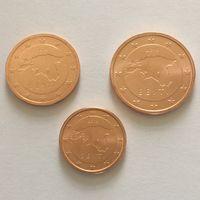 1-2-5 центов (3 монеты) 2018 Эстония UNC из ролла