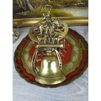 Большой колокольчик латунь бронза конь лошадь всадник Англия ОХОТА Звонок