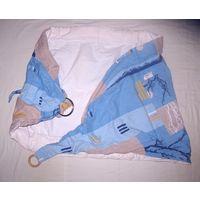 Слинг на кольце Баюшка, приспособление для ношения ребенка. Двухслойные, с 2мя кармашками для мамы. Края, усиленный синтепоном. Общая длина 175 см (длина 2-слойного места малыша 97 см, ширина 61 см)