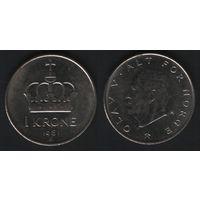 Норвегия km419 1 крона 1981 год (K) (f50)nr0(ks00)