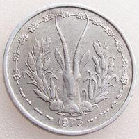 Западная Африка, 1 франк 1973 года, KM#3.1, золотая гиря/ газель, животные