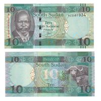 Банкнота Южный Судан 10 фунтов 2015 UNC ПРЕСС