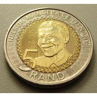 """ЮАР.  5 рандов 2018 год  UC#105  """"100 лет со дня рождения Нельсона Манделы"""""""