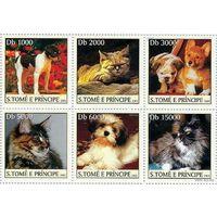 S.Tome E Principe - MNH - 2003 - Домашние животные - Собаки - Кошки серия 6 марок \