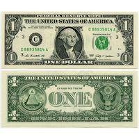 США. 1 доллар (образца 2009 года, C, Пенсильвания, P529, UNC)