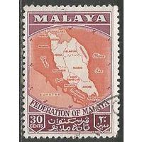 Малайзия(Федерация). Карта страны. 1957г. Mi#4.