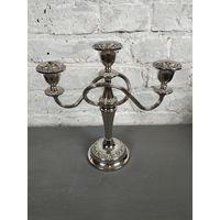 Канделябр на 3 свечи. Металл серебрение Англия cередина ХХ века