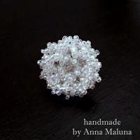 """Кольцо ручной работы """"Ледяная астра"""" из бисера"""