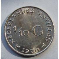 Антилы, 1\10 гульдена, 1970, серебро