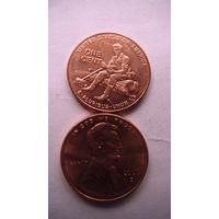 Коллекция = Один / 1 / цент США, Юность Линкольна.(Вторая монета)Цент 2009 года в честь 200-летия Линкольна     распродажа