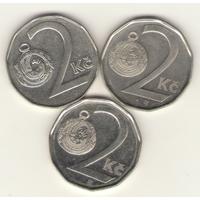 2 кроны 1995, 2001, 2008 г. Чешская республика.