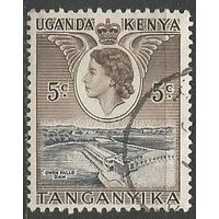 Кения Уганда и Танганьика. Королева Елизавета II. ГЭС на Ниле. 1954г. Mi#92.
