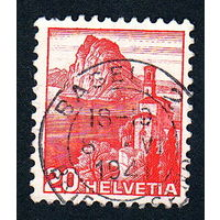 32: Швейцария, почтовая марка, 1936 год, номинал 20с, SG#375A