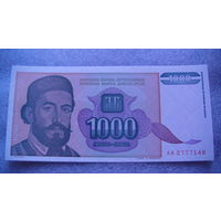 Югославия 1000 динар 1994г. АА2777148  состояние.  распродажа