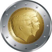 2 евро 2014 Нидерланды Двойной портрет: Король Виллем-Александр и принцесса Беатрикс UNC  из ролла