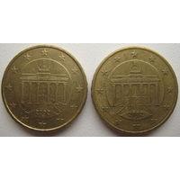 Германия 10 евроцентов 2002 г. (F) (J). Цена за 1 шт.