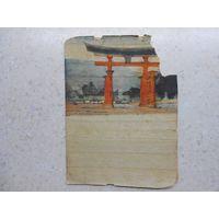 """Китайская """"открытка"""" на """"бумаге"""" из раскатанной соломки Китай 1920-1930-ые гг. (4)"""