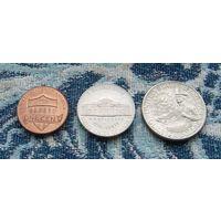 Соединенные Штаты Америки 1, 5, 25 центов. Линкольн. Франклин. Вашингтон. Барабанщик.