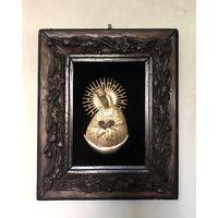 Остробрамская икона Божией Матери Металл Бархат Дерево резная рамка