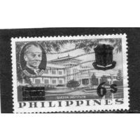 Филиппины. Институт. Мануэль Кесон, президент.  Надпечатка