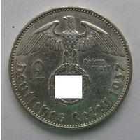 1937 г. 2 марки. А. Германия. Рейх. Серебро. XF
