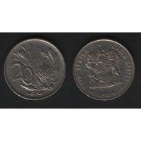 Южная Африка (ЮАР) _km86 20 центов 1984 год (b06)
