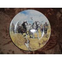 "Тарелка коллекционная, ""Working Horses"", England, сертификат"