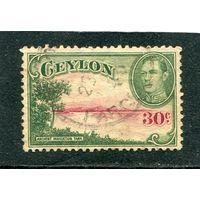 Британская колония. Цейлон. Георг VI. Старое озеро. Водяной знак корона вертикальная