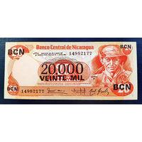 РАСПРОДАЖА С 1 РУБЛЯ!!! Никарагуа 20000 кордобов надпечатка на 20 1987 год UNC
