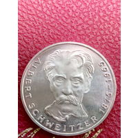 5 марок ФРГ  серебро 0,625 ALBERT SCHWEITZER 1975 G.47