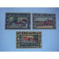Германия 50, 75, 100 пфенингов  1921 Нотгельд   3 шт