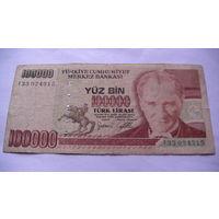 ТУРЦИЯ 100000 лир 1991 года.  распродажа