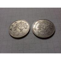 Намибия 10 центов 1993 - две монеты одним лотом