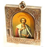 Нательная ладанка икона святой Александр в серебряном киоте