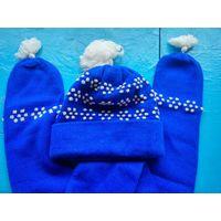 Набор - шапка и шарф синие  с белым узором  и помпонами. Для спорта, повседневного применения.   Размер 55-57.