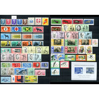 ГДР - 1963г. - Полный годовой набор - MNH, две марки с отпечатками, две - с пузырьками на клее [Mi 934-1003] - 66 марок, 2 сцепки, 1 блок