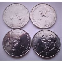 """Конго ДР. набор 4 монеты 1 франк 2004 год  """"Папа Иоанн Павел II"""""""